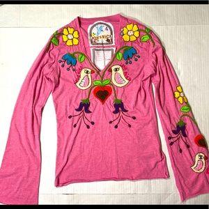 Joystick Heavily Embroidery Love/Pink Shirt M